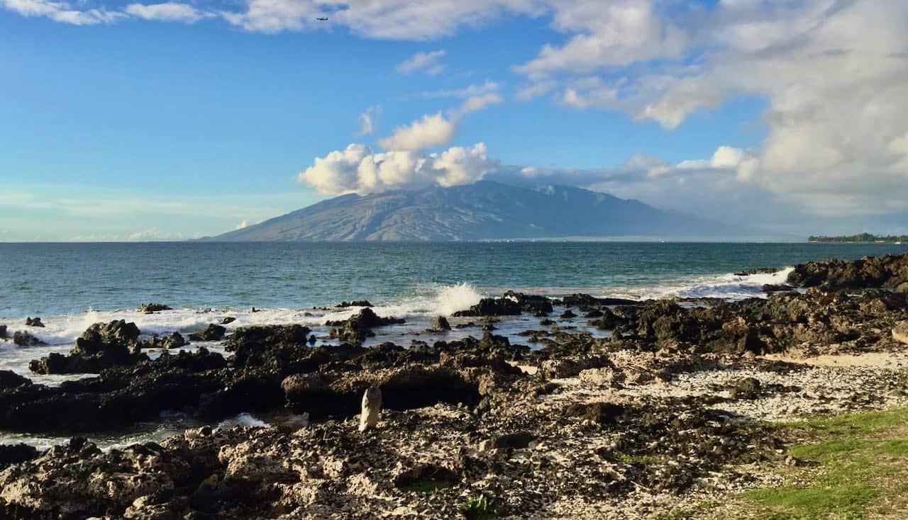 south maui shoreline with west maui view