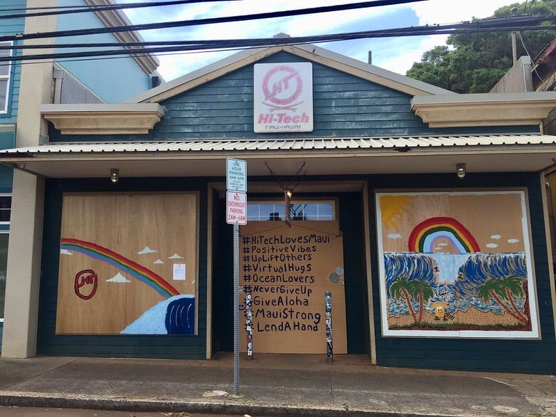HiTech Paia boarded up covid