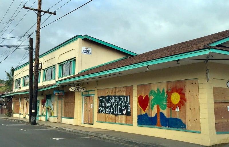Maui Crafts Guild boarded up graffiti