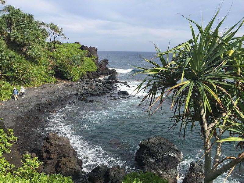 walking by the shore near Hana Maui